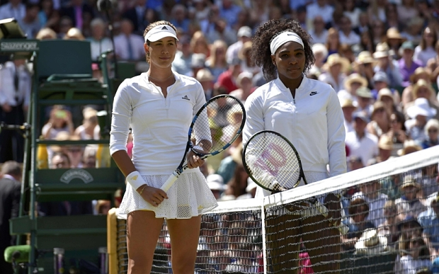 Serena Williams of the U.S.A and Garbine Muguruza of Spain pose before the start of their Women's Final Match at the Wimbledon Tennis Championships in London