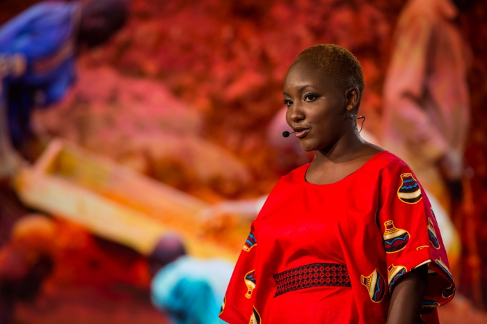 Majala Mlagui speaks on behalf of gem miners, who risk life and limb for the colored gems we wear -- and are rarely paid a fair price. She spoke onstage at the TED Fellows session of TED2016, February 15-19, 2016. Photo: Ryan Lash